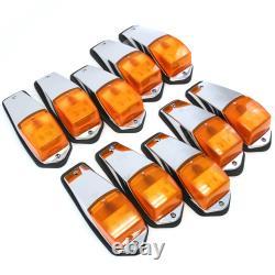 10 Cab Marker Lights Chrome 31 LED Peterbilt Kenworth Freightliner Roof Amber