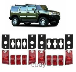 10pcs Red Top Roof Cab Marker Light Cover Lens for 2003-2009 Hummer H2 SUV SUT