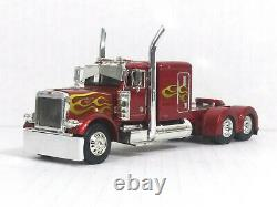 1/64 DCP /First Gear Candy Red wFlames Peterbilt 379 Tractor Show Cab O/O