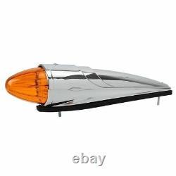 5pcs 17LED Amber Chrome Torpedo Cab Marker Clearance Roof Running Top Lights 12v