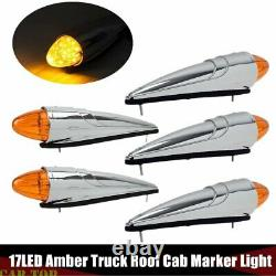 5x Amber 17LED Semi Truck Roof Cab Marker Clearance Light Assembly for Peterbilt