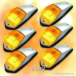 6 pcs Amber Chrome 31 LED Cab Marker Lights fits Peterbilt Kenworth Freightliner