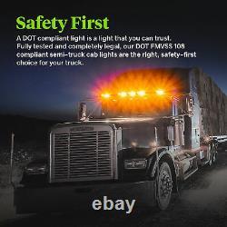 DOT Amber LED Cab Marker Light Kit Semi Truck Peterbilt Kenworth Freightliner