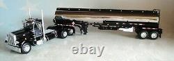 Dcp Black Chrome Peterbilt 359 Day Cab Heil Fuel Tanker Trailer V 1/64 60-1035
