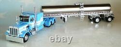 Dcp Blue White Peterbilt 359 63 Flattop Sleeper With Milk Tanker 60-0822 60-0666