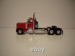 Dcp First Gear 1/64 Red Peterbilt 379 Day Cab With Black Renegade Lowboy