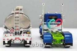 NEW BLUE & WHITE DCP 1/64 PETERBILT 359 DAY CAB 245 FRAME With HEIL FUEL TANKER