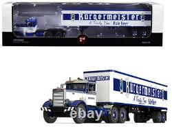 Peterbilt 351 Day Cab with 40' Vintage Trailer Burgermeister Blue and White