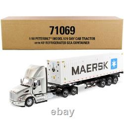 Peterbilt 579 Day Cab Truck Tractor with Flatbed Trailer and 40\' Refrigerate