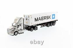 Peterbilt 579 Silver Day Cab Tractor On-Highway Truck with Skeleton Trailer a